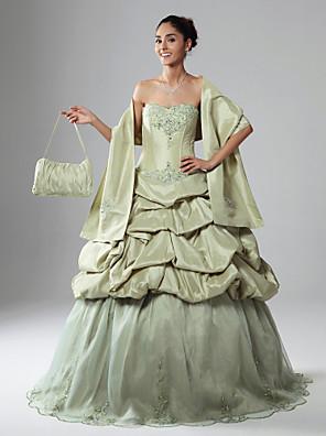 Promoce / Quinceanera / Vojenský ples Šaty A-Linie / Plesové šaty / Princess Bez ramínek / Nabraný Na zem Organza / Taft sAplikace /