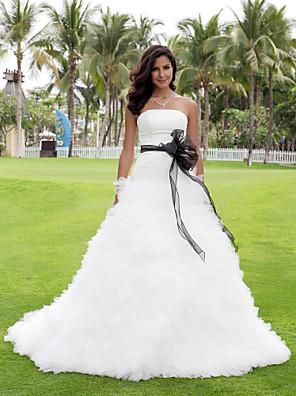 Lanting Bride® נשף קטן / מידה גדולה שמלת כלה - קלסי ונצחי / שיק ומודרני / אלגנטי ויוקרתי / זוהר ודרמטיות שמלות חתונה צבעוניותשובל כנסייה