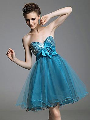 Coquetel / Baile de Fim de Ano / Baile de Debutante / Feriado Vestido - Curto Linha A / Princesa Tomara que Caia / Coração Curto / Mini