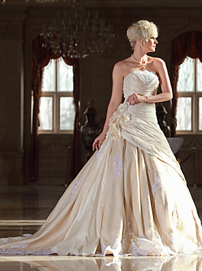 Lanting Bride A-line Petite / Plus Sizes Wedding Dress-Cathedral Train Strapless Lace / Taffeta