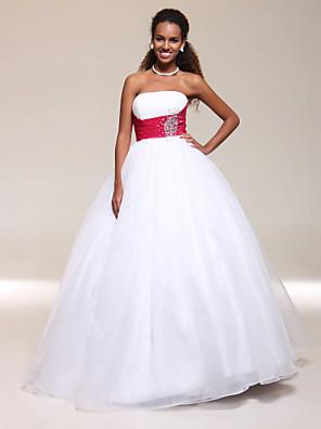 프롬 / 포멀 이브닝 / 밀리터리 볼 드레스 A-라인 / 볼 드레스 끈없는 스타일 바닥 길이 튤 와 비즈 / 크리스탈 디테일 / 루시 주름 장식
