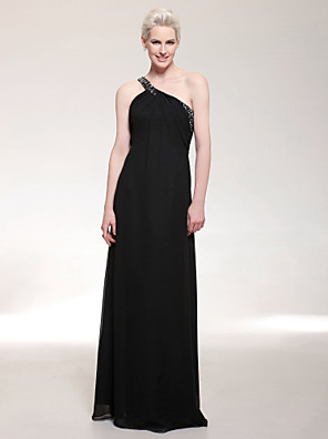 TS Couture® Formal Evening / Military Ball Dress - Open Back Plus Size / Petite Sheath / Column One Shoulder Floor-length Chiffon with Beading / Side