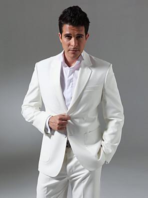 חליפות גזרה מחוייטת פתוח Single Breasted Two-button פשתן חלק שני חלקיםשחור / אפור / כחול / ורוד / לבן / אפור בהיר / סגול בהיר / כחול