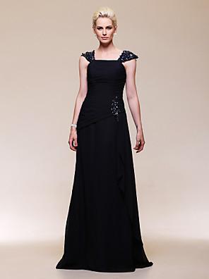 Formell kveld / Militærball / Bryllupsfest Dress - Elegant A-linje / Prinsesse Løs skulder / Firkantet Gulvlang Chiffon medPerler /