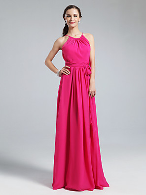 Floor-length Chiffon Bridesmaid Dress Sheath / Column Jewel Plus Size / Petite with Sash / Ribbon / Ruching / Pleats