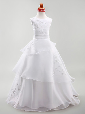 A-line / Ball Gown / Princess Floor-length Flower Girl Dress - Organza / Satin Sleeveless Jewel with Embroidery / Sash / Ribbon / Tiers