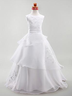 כלה לנטינג גזרת A / נשף / נסיכה עד הריצפה שמלה לנערת הפרחים - אורגנזה / סאטן ללא שרוולים עם תכשיטים עם ריקמה / סרט / שכבות