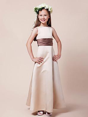 Lanting Bride® Longo Cetim Vestido de Daminha de Honra Linha A / Princesa Canoa Natural com Faixa / Fita / Franzido