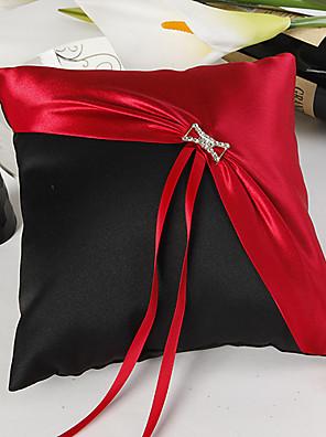 clássico vermelho e preto travesseiro anel de casamento