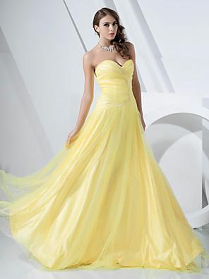 Baile de Promoción / Evento Formal / Baile Militar Vestido - Inspiración Vintage / Elegante Corte en A / Princesa Sin Tirantes / Corazón