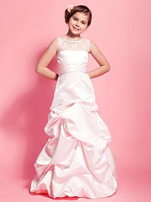 Lanting Bride® Longo Renda / Cetim Vestido de Daminha de Honra Linha A / Princesa Decote em U Natural comRenda / Saia com Pregas em