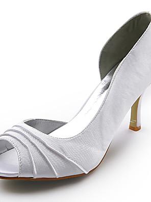 szatén felső tűsarkú peep toe esküvői menyasszonyi cipő