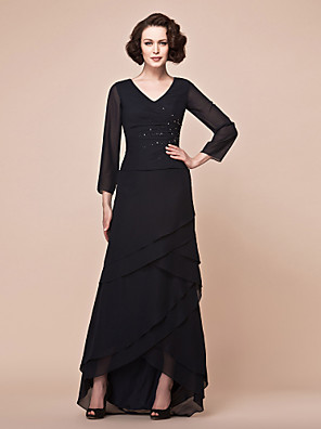 A-line Plus Size / Petite Mother of the Bride Dress Asymmetrical 3/4 Length Sleeve Chiffon with Beading / Tiers / Side Draping