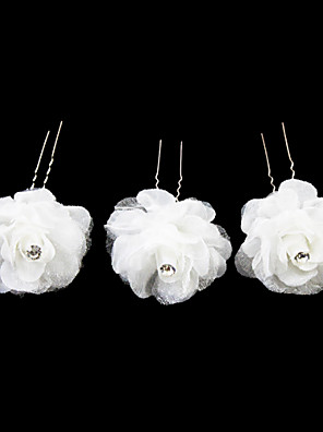 Mulheres / Menina das Flores Cetim / Liga Capacete-Casamento / Ocasião Especial / Casual Alfinete de Cabelo 3 Peças