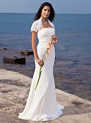 Lanting Bride Trumpet/Mermaid Petite / Plus Sizes Wedding Dress-Sweep/Brush Train Strapless Chiffon