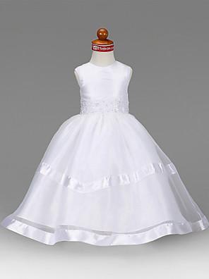 גזרת A / נסיכה עד הריצפה שמלה לנערת הפרחים - אורגנזה / טפטה ללא שרוולים עם תכשיטים עם אפליקציות / חרוזים / תד נשפך