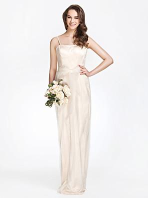 Lanting Bride® Na zem Tyl / Charmeuse Šaty pro družičky Pouzdrové Bez ramínek Větší velikosti / Malé s Mašle / Nabírání / Šerpa / Stuha