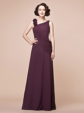 A-line Plus Size / Petite Mother of the Bride Dress Floor-length Sleeveless Chiffon with Ruffles / Side Draping