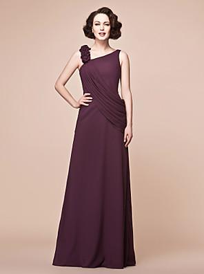Lanting Bride® A-Linie Větší velikosti / Malé Šaty pro matku nevěsty Na zem Bez rukávů Šifón - Volánky / Boční řasení