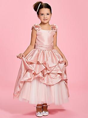 Lanting Bride A-line / Princess Ankle-length Flower Girl Dress - Taffeta Bateau with Flower(s) / Pick Up Skirt / Sash / Ribbon / Ruching