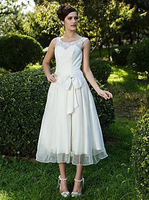 Lanting bruden-line / princess petite / pluss størrelser brudekjole-te-lengde scoop blonder / organza
