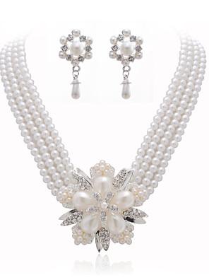 gyönyörű tiszta kristály és bizsu gyöngy ékszer szett, beleértve a nyaklánc és fülbevaló