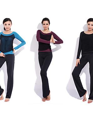 ריצה מכנסיים / מדים בסטים לנשים שרוול ארוך חדירות ללחות / ייבוש מהיר ספנדקס יוגה / כושר גופני / ספורט פנאי בגדי ספורט בבית / ספורט פנאי