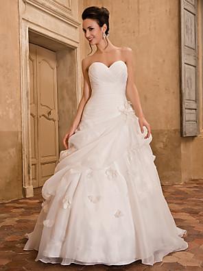 Lanting noiva uma linha petite / mais tamanhos de casamento vestido de-capela querido trem organza
