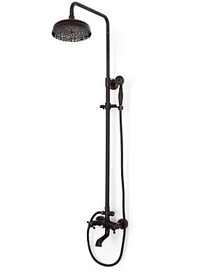 """Antik Zuhany rendszer Zuhany """"eső""""szórófej / Kézi zuhanyzót tartalmaz with  Réz szelep Két fogantyú három lyuk for  Olajjal kezelt bronz,"""