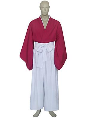 Inspirovaný RurouniKenshin Himura Kenshin Anime Cosplay kostýmy Cosplay šaty / Kimono Patchwork Biały / Czerwony Dlouhé rukávyKimono /