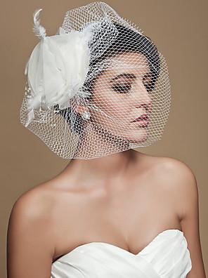 הינומות חתונה שכבה אחת צעיפי סומק / Birdcage Veils חיתוך קצה טול