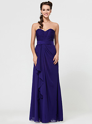Floor-length Chiffon Bridesmaid Dress Sheath / Column Strapless / Sweetheart / Spaghetti StrapsApple / Hourglass / Inverted Triangle /