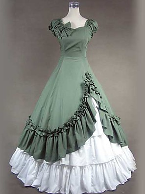 Jednodílné/Šaty Gothic Lolita Viktoria Tarzı Cosplay Lolita šaty Bílá / Zelená Retro Krátké rukávy Long Length Sukně / Šaty / Spodnička
