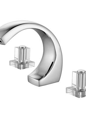 Moderne Udspredt To Håndtag tre huller in Krom Håndvasken vandhane
