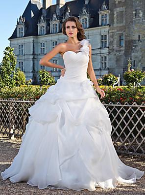 Lanting bruden bolden kjole petite / plus størrelser brudekjole-gulv-længde ene skulder organza