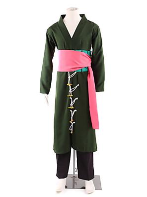 קיבל השראה מ One Piece Roronoa Zoro אנימה תחפושות קוספליי חליפות קוספליי / קימונו טלאים שחור שרוולים ארוכיםמעיל קימונו / מכנסיים / אביזרי