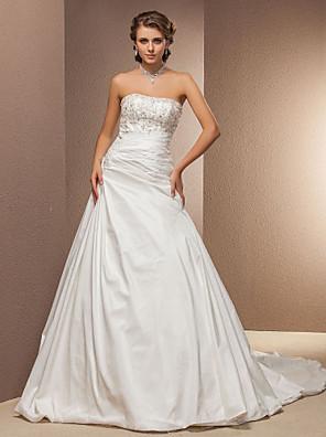 Lanting Bride® גזרת A קטן / מידה גדולה שמלת כלה - קלסי ונצחי שובל כנסייה (צ'אפל) סטרפלס טפטה עם