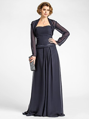A-line Plus Size / Petite Mother of the Bride Dress - Wrap Included Floor-length Long Sleeve Chiffon with Beading / Draping