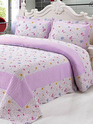 3-delt lilla mønster vaskes bomuld quilt sæt