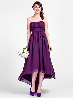 Lanting Bride® Assimétrico Chiffon Vestido de Madrinha - Linha A / Princesa Tomara que Caia / Com Alças Finas Tamanhos Grandes / Mignon