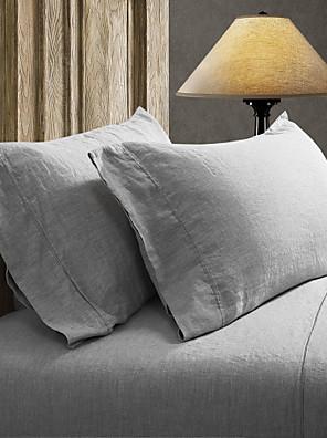 simple&opulence® 2-pack pudebetræk sæt, 100% hør solid grå