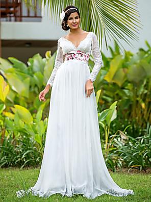 Lanting noiva bainha / coluna petite / mais tamanhos de casamento vestido de andar de comprimento v-neck chiffon / rendas