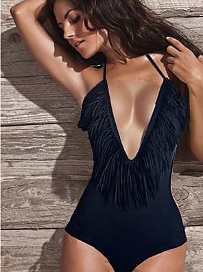 női fekete szexi egyrészes fürdőruha