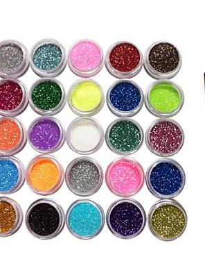 25 színben csillogó por köröm dekorációk ecsettel