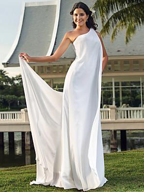 Lanting Bride® Sheath / Column Petite / Plus Sizes Wedding Dress - Chic & Modern / Elegant & Luxurious Floor-length One Shoulder Chiffon