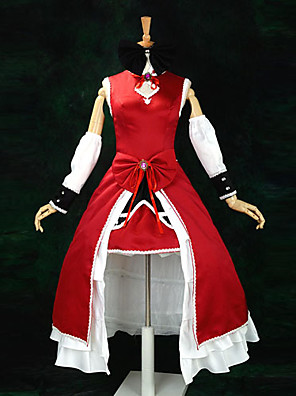 קיבל השראה מ Puella Magi Madoka Magica Kyoko Sakura אנימה תחפושות קוספליי חליפות קוספליי / שמלות טלאים אדום בלי שרווליםשמלה / רצועת ראש /