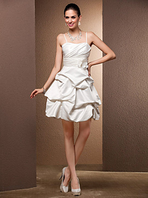 שמלות כלה  - שמלת נשף קצר/מיני - כתפיות ספגטי - סאטן