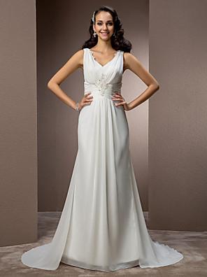 lanting novia vaina / columna de pequeña / más el tamaño de la boda del vestido de barrido / cepillo tren gasa con cuello en V
