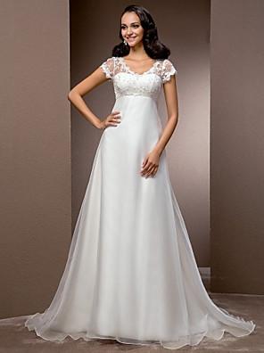 Lanting Bride® A-line / Princess Petite / Plus Sizes Wedding Dress - Classic & Timeless / Glamorous & Dramatic Vintage InspiredCourt