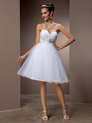 Lanting bruden-line / princess petite / pluss størrelser brudekjole-kne-lengde kjæreste tyll